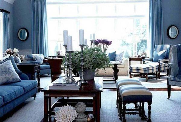 синий в гостиной